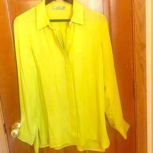 Vince silk blouse NWT chartreuse, sz 10